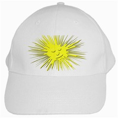 Smilie Sun Emoticon Yellow Cheeky White Cap by HermanTelo