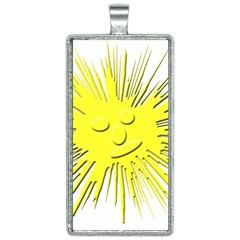 Smilie Sun Emoticon Yellow Cheeky Rectangle Necklace by HermanTelo