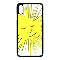 Smilie Sun Emoticon Yellow Cheeky Iphone Xs Max Seamless Case (black)