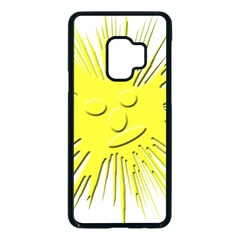Smilie Sun Emoticon Yellow Cheeky Samsung Galaxy S9 Seamless Case(black) by HermanTelo
