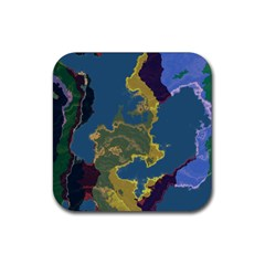 Map Geography World Rubber Coaster (square)  by HermanTelo