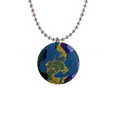 Map Geography World 1  Button Necklace by HermanTelo
