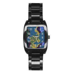 Map Geography World Stainless Steel Barrel Watch by HermanTelo