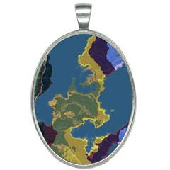 Map Geography World Oval Necklace