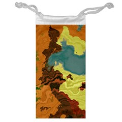 Map Geography World Yellow Jewelry Bag by HermanTelo