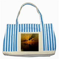 Sunset Reflection Birds Clouds Sky Striped Blue Tote Bag by HermanTelo