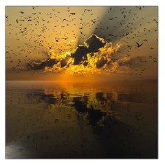Sunset Reflection Birds Clouds Sky Large Satin Scarf (square)