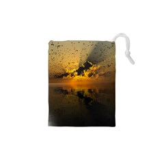Sunset Reflection Birds Clouds Sky Drawstring Pouch (xs)