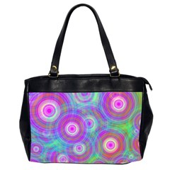 Circle Colorful Pattern Background Oversize Office Handbag (2 Sides) by HermanTelo
