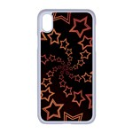 Gold Stars Spiral Chic iPhone XR Seamless Case (White) Front