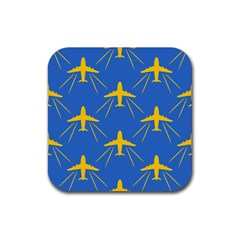 Aircraft Texture Blue Yellow Rubber Coaster (square)  by HermanTelo