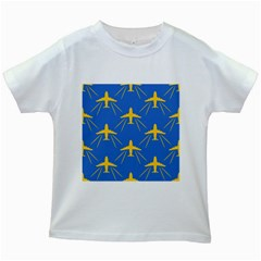 Aircraft Texture Blue Yellow Kids White T Shirts by HermanTelo