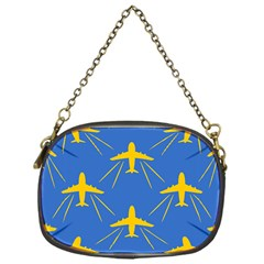 Aircraft Texture Blue Yellow Chain Purse (one Side) by HermanTelo