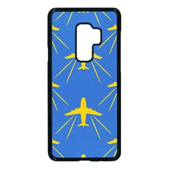 Aircraft Texture Blue Yellow Samsung Galaxy S9 Plus Seamless Case(black) by HermanTelo