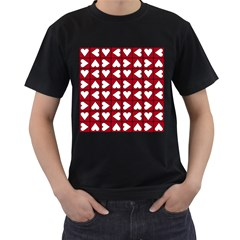 Graphic Heart Pattern Red White Men s T-shirt (black) (two Sided) by HermanTelo