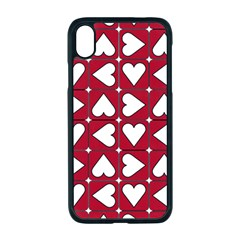 Graphic Heart Pattern Red White Iphone Xr Seamless Case (black)