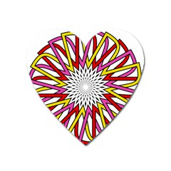 Sun Abstract Mandala Heart Magnet by HermanTelo