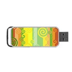 Ring Kringel Background Abstract Yellow Portable Usb Flash (one Side) by HermanTelo