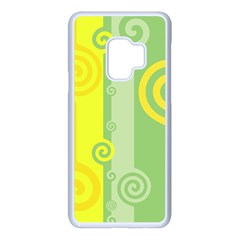Ring Kringel Background Abstract Yellow Samsung Galaxy S9 Seamless Case(white)
