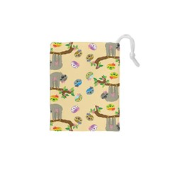Sloth Neutral Color Cute Cartoon Drawstring Pouch (xs)