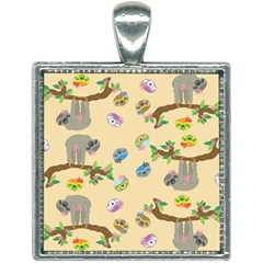 Sloth Neutral Color Cute Cartoon Square Necklace by HermanTelo