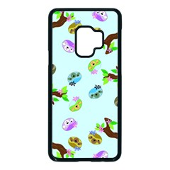 Sloth Aqua Blue Cute Cartoon Tile Green Samsung Galaxy S9 Seamless Case(black)