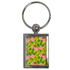 Roses Flowers Pattern Bud Pink Key Chains (rectangle)  by HermanTelo