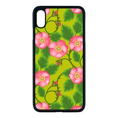 Roses Flowers Pattern Bud Pink Iphone Xs Max Seamless Case (black)