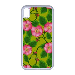 Roses Flowers Pattern Bud Pink Iphone Xr Seamless Case (white)