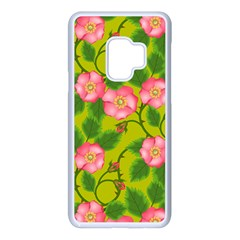 Roses Flowers Pattern Bud Pink Samsung Galaxy S9 Seamless Case(white)