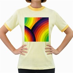 Background Rainbow Colors Colorful Women s Fitted Ringer T Shirt