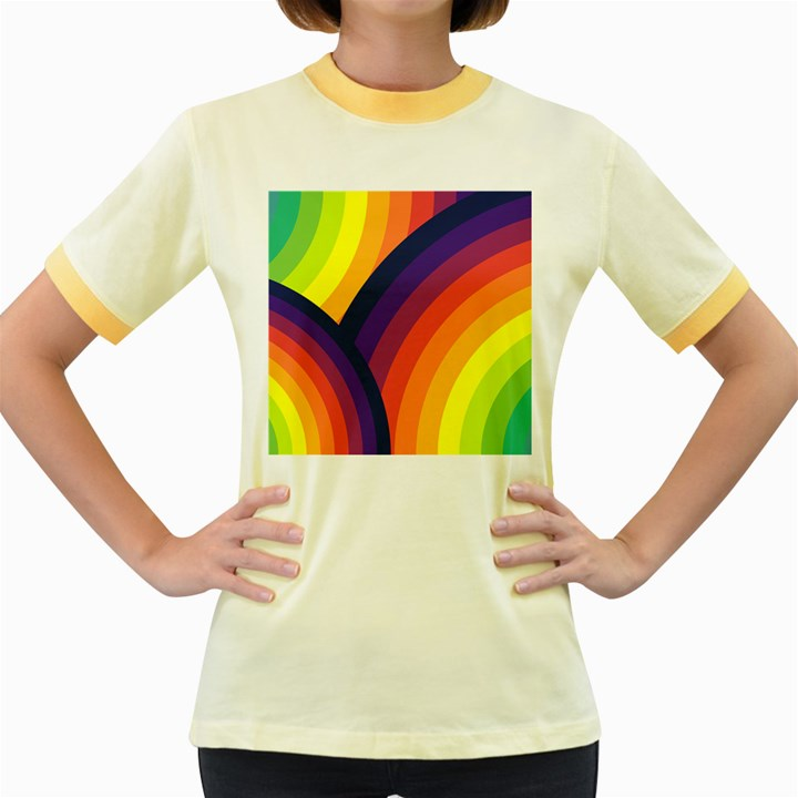 Background Rainbow Colors Colorful Women s Fitted Ringer T-Shirt