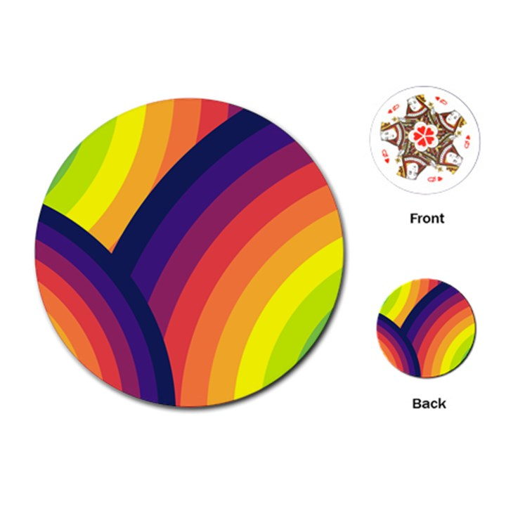 Background Rainbow Colors Colorful Playing Cards (Round)