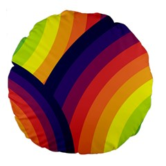 Background Rainbow Colors Colorful Large 18  Premium Round Cushions