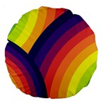 Background Rainbow Colors Colorful Large 18  Premium Round Cushions Back