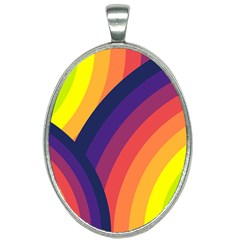 Background Rainbow Colors Colorful Oval Necklace by Pakrebo