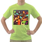 Graffiti Mural Street Art Wall Art Green T-Shirt Front