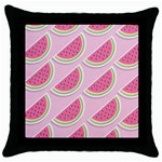 Melons Pattern Food Fruits Melon Throw Pillow Case (Black) Front