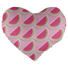 Melons Pattern Food Fruits Melon Large 19  Premium Flano Heart Shape Cushions