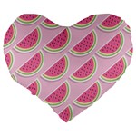 Melons Pattern Food Fruits Melon Large 19  Premium Flano Heart Shape Cushions Back