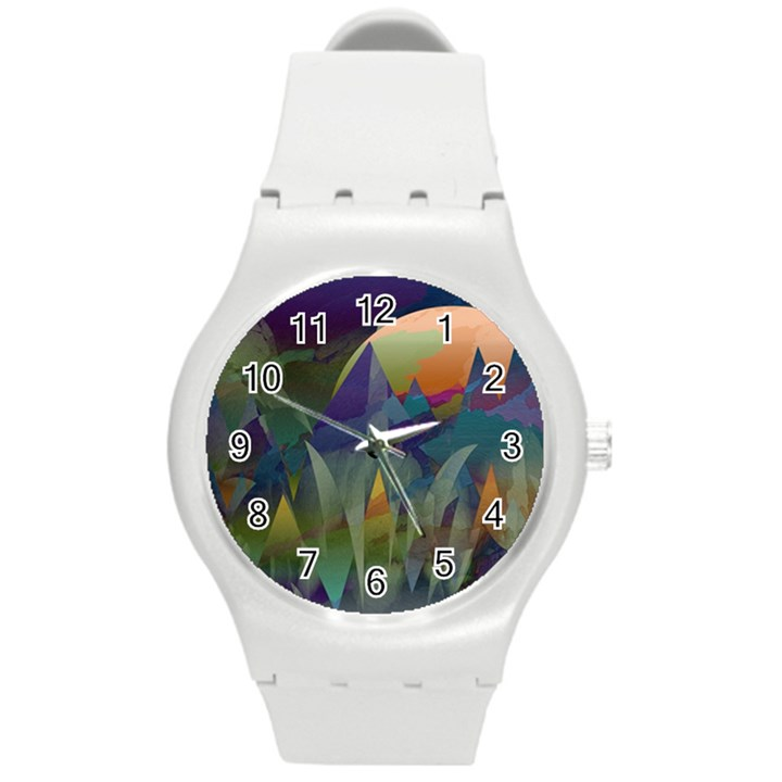 Mountains Abstract Mountain Range Round Plastic Sport Watch (M)