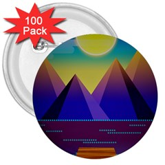 Jetty Landscape Scenery Mountains 3  Buttons (100 Pack)
