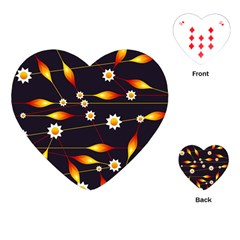 Flower Buds Floral Background Playing Cards (heart)