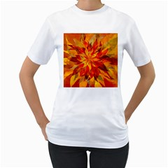 Flower Blossom Red Orange Abstract Women s T Shirt (white) (two Sided)