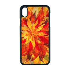 Flower Blossom Red Orange Abstract Iphone Xr Seamless Case (black) by Pakrebo