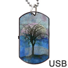 Tree Moon Sky Watercolor Painting Dog Tag Usb Flash (one Side) by Pakrebo