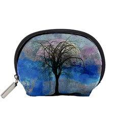 Tree Moon Sky Watercolor Painting Accessory Pouch (small)