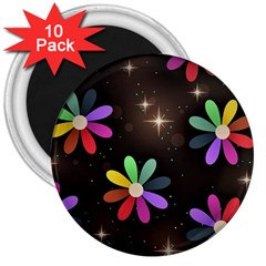 Illustrations Background Floral Flowers 3  Magnets (10 Pack)