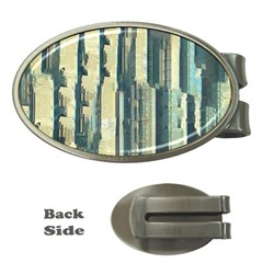 Texture Abstract Buildings Money Clips (oval)