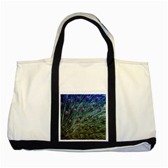 Peacock Feathers Colorful Feather Two Tone Tote Bag